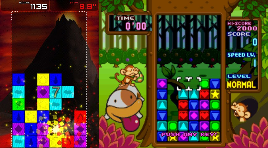 Comparison screenshot of Puzzle Panel and Tetris Attack