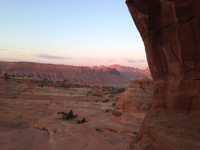 Looking back at the cliffs I photographed from the trailhead at sunset