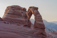 Delicate Arch again, now roughly half lit by the morning sun