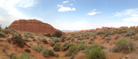 Panorama of the desert along the Landscape Arch trail