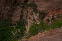 Switchbacks along the lower part of the Angels Landing trail, before Refrigerator Canyon