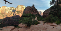 Looking south toward Angels Landing. This angle obscures how steep it really is.