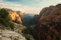 Zion Canyon, from where the trail finally emerges at the top of Angels Landing.