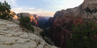 A panorama of Zion Canyon from the end of the Angels Landing trail.